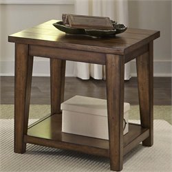 Liberty Furniture Lancaster II End Table in Antique Brown
