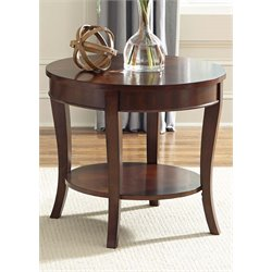 Liberty Furniture Bradshaw Round End Table in Rich Cherry