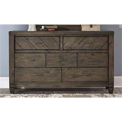 Modern Country 7 Drawer Dresser in Harvest Brown