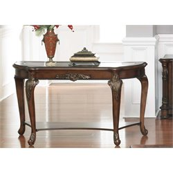Liberty Furniture Eden Park Glass Top Console Table in Antique Cherry