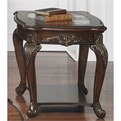 Liberty Furniture Eden Park Glass Top End Table in Antique Cherry