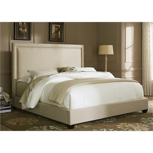 Linen Fabric Upholstered Panel Bed in Natural