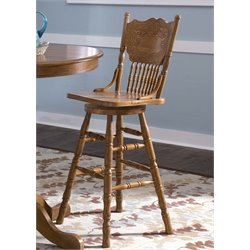 Nostalgia Press Back Bar Stool in Medium Oak