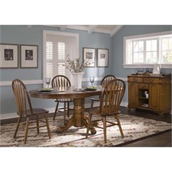 Liberty Furniture Nostalgia 5 Piece Pedestal Dining Set in Oak