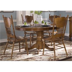 Liberty Furniture Nostalgia 5 Piece Oval Dining Set in Medium Oak