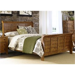 Grandpa's Cabin Sleigh Bed in Aged Oak