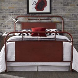 Vintage Metal Bed in Distressed Red