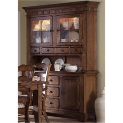 Treasures Buffet China Cabinet in Rustic Oak