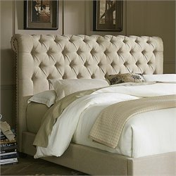 Upholstered Chesterfield Sleigh Headboard in Natural