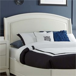 Avalon II Faux Leather Panel Headboard in White Truffle
