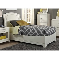 Avalon II Faux Leather Panel Bed in White Truffle