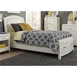 Avalon II Faux Leather Panel Storage Bed in White Truffle