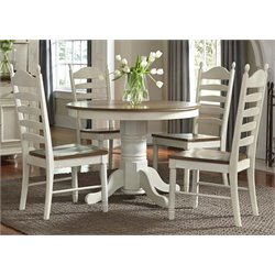 Springfield Pedestal Dining Set in Honey and Cream