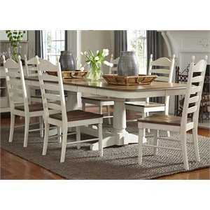 Springfield Double Pedestal Dining Set in Honey and Cream