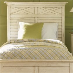 Ocean Isle Headboard in Bisque with Natural Pine