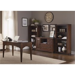 Liberty Furniture Leyton I 4 Piece Home Office Set in Tobacco