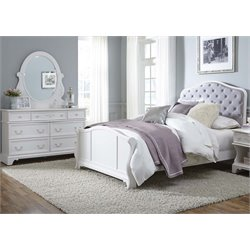 Arielle 3 Piece Upholstered Panel Bedroom Set in Antique White