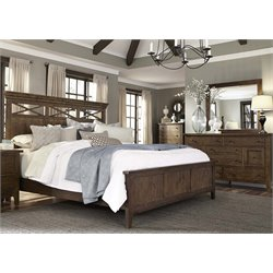 Hearthstone 4 Piece Panel Bedroom Set in Rustic Oak DMC