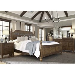 Hearthstone 5 Piece Poster Bedroom Set in Rustic Oak DMCN
