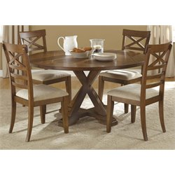Hearthstone 5 Piece Pedestal Dining Set in Rustic Oak (A)