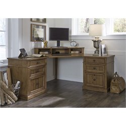 Liberty Furniture Cumberland Creek Corner Computer Desk in Rustic Oak