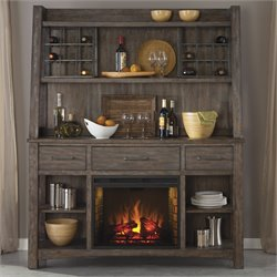 Stone Brook Fireplace Buffet in Rustic Saddle