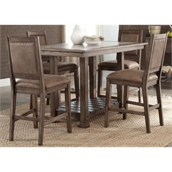 Liberty Furniture Stone Brook Counter Height Dining Table in Saddle