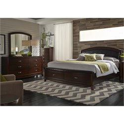 Avalon 4 Piece Faux Leather Storage Bedroom Set in Dark Truffle DMC