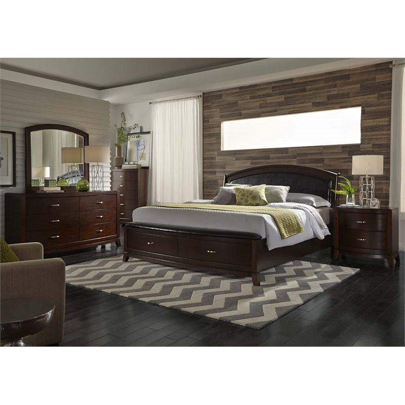 Liberty Furniture Avalon Piece King Faux Leather Storage Bedroom