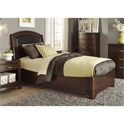 Avalon Faux Leather Panel Bed in Dark Truffle