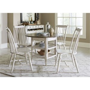 Oak Hill Drop Leaf Dining Set in Tan Smoke and Antique White