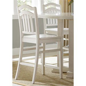 Liberty Furniture Summerhill Slat Back Counter Stool in Linen White