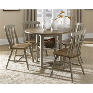 Al Fresco Drop Leaf Dining Set in Driftwood and Taupe (A)