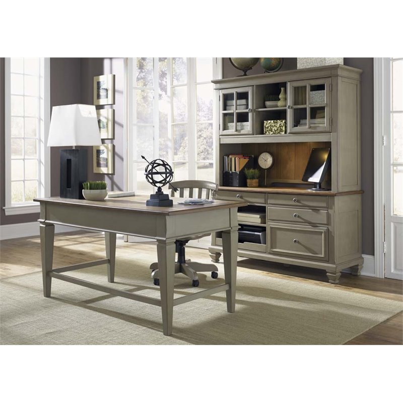 Elegant Liberty Furniture Bungalow 3 Piece Home Office Set In Driftwood