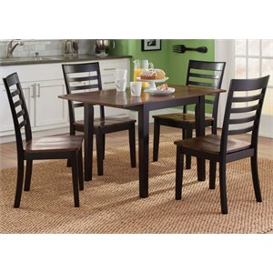 Cafe Drop Leaf Dining Set in Black and Cherry