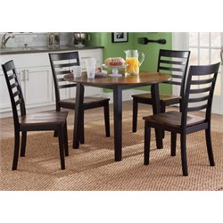 Liberty Furniture Cafe 5 Piece Round Dining Set in Black and Cherry