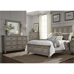 Grayton Grove 4 Piece Panel Bedroom Set in Driftwood