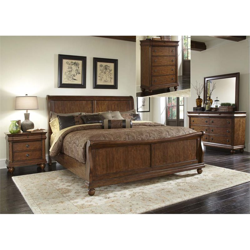 Liberty Furniture Traditions 5 Piece King Sleigh Bedroom Set in Cherry