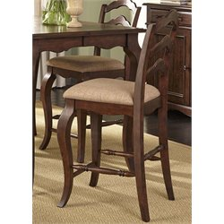 Liberty Furniture Woodland Creek Ladder Back Counter Stool in Russet