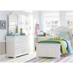 Summer House 3 Piece Panel Bedroom Set in Oyster White DM YBR