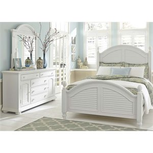 Summer House 3 Piece Poster Bedroom Set in Oyster White DM