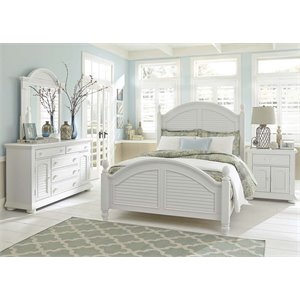 Summer House 4 Piece Poster Bedroom Set in Oyster White DMN