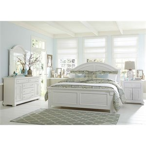 Summer House 4 Piece Panel Bedroom Set in Oyster White DMN