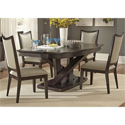 Liberty Furniture Southpark Pedestal Dining Table in Charcoal