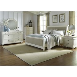 Harbor View II 5 Piece Sleigh Bedroom Set in Linen DMCN