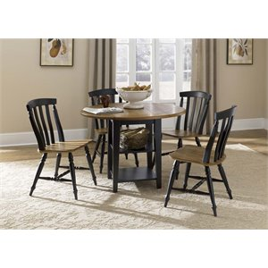 Al Fresco II Drop Leaf Dining Set in Driftwood and Black