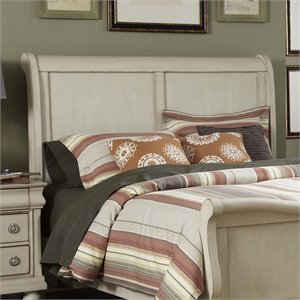 Rustic Traditions II Sleigh Headboard in Rustic White