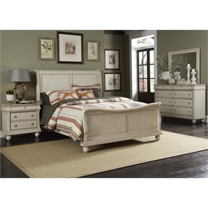 Rustic Traditions II 4 Piece Sleigh Bedroom Set in Rustic White DMN
