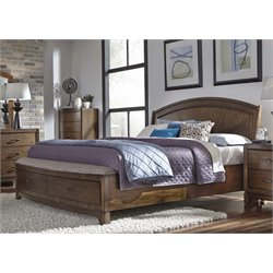 Avalon III Panel Storage Bed in Pebble Brown