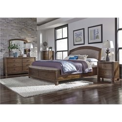 Avalon III 5 Piece Storage Bedroom Set in Pebble Brown DMCN